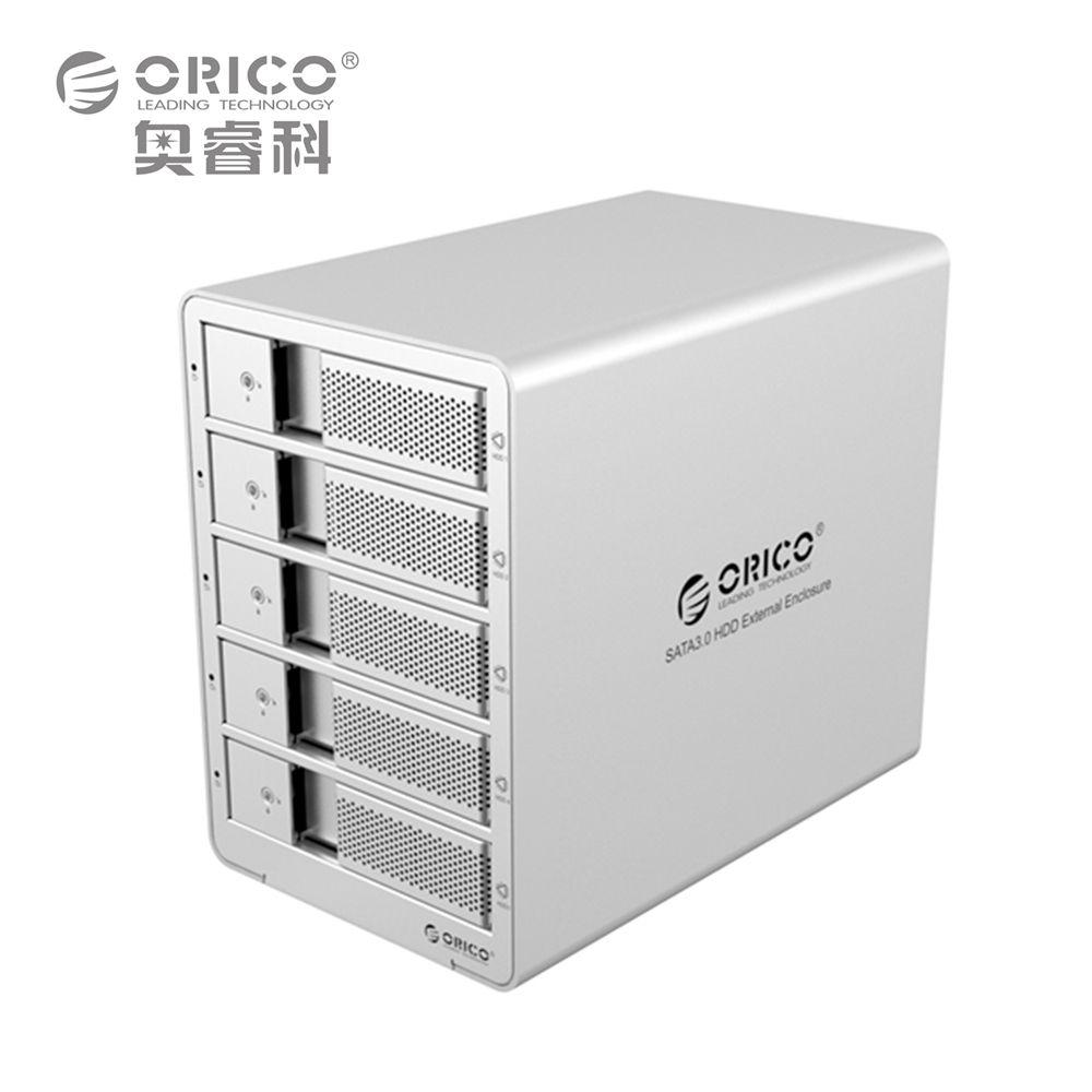 ORICO 9558ru3-sv 5-залив 3.5 ''USB3.0 ESATA RAID Корпуса для жёстких дисков Док-станция для hdd случае Поддержка 40 ТБ для ноутбука ПК (серебро)