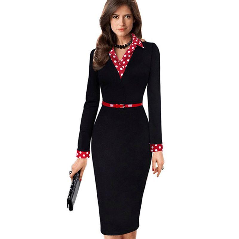 Femmes élégant Vintage automne à pois tourner vers le bas col ceinturé porter au travail décontracté manches longues gaine robe crayon EB334
