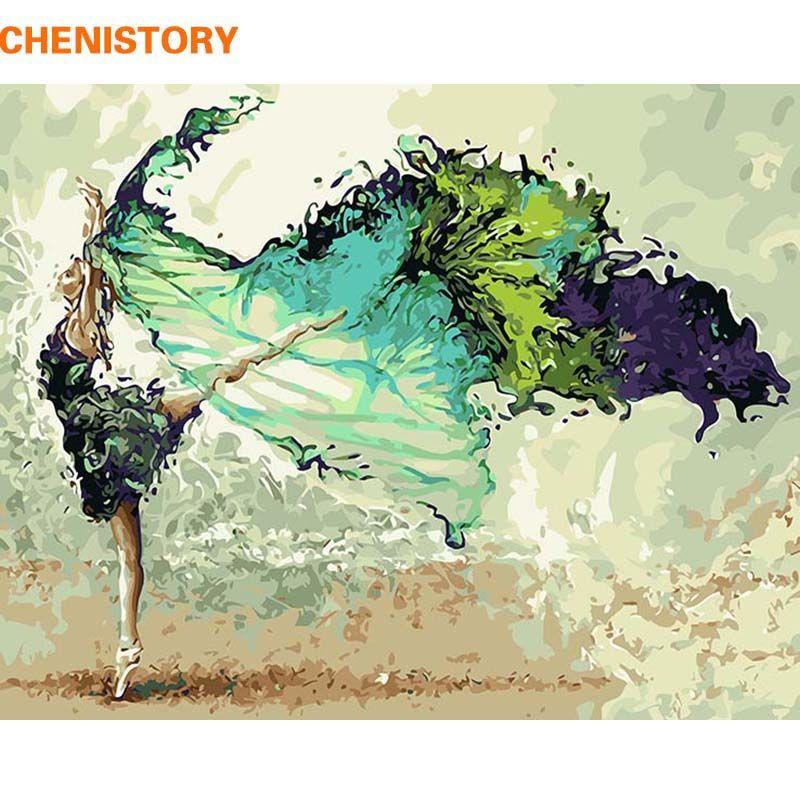 CHENISTORY cadre peinture & calligraphie danseur peinture à la main par numéros moderne mur Art photo cadeau Unique pour la décoration intérieure 60x75