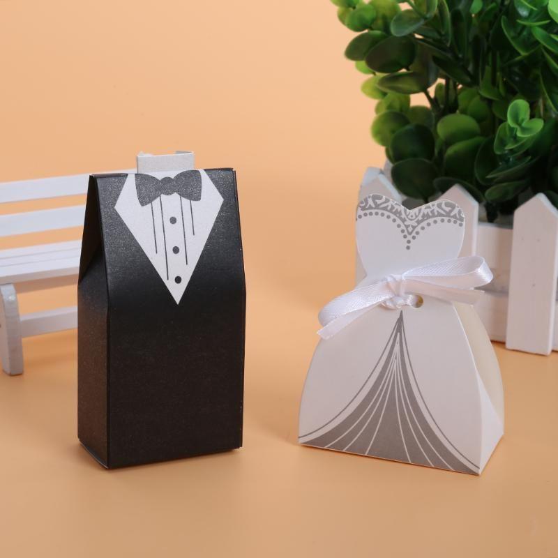 100 pcs/lots Mariée Et Marié Robes De Mariage Boîte De Bonbons Cadeaux Boîte de Faveur De Mariage Bonbonnières BRICOLAGE Fournitures Événement de Fête
