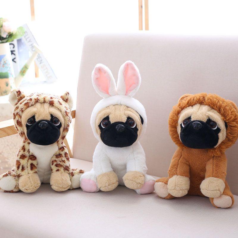 Carlin en peluche mignon animal doux en peluche poupée chien cosplay dinosaure éléphant enfants jouets anniversaire cadeau de noël pour les enfants