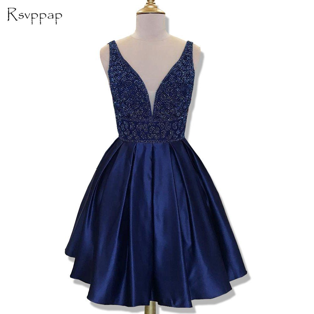 Stunning Short Homecoming Dress 2017 Cute Top Beaded Sweet 16 Navy Blue 8th Grade Prom Dresses