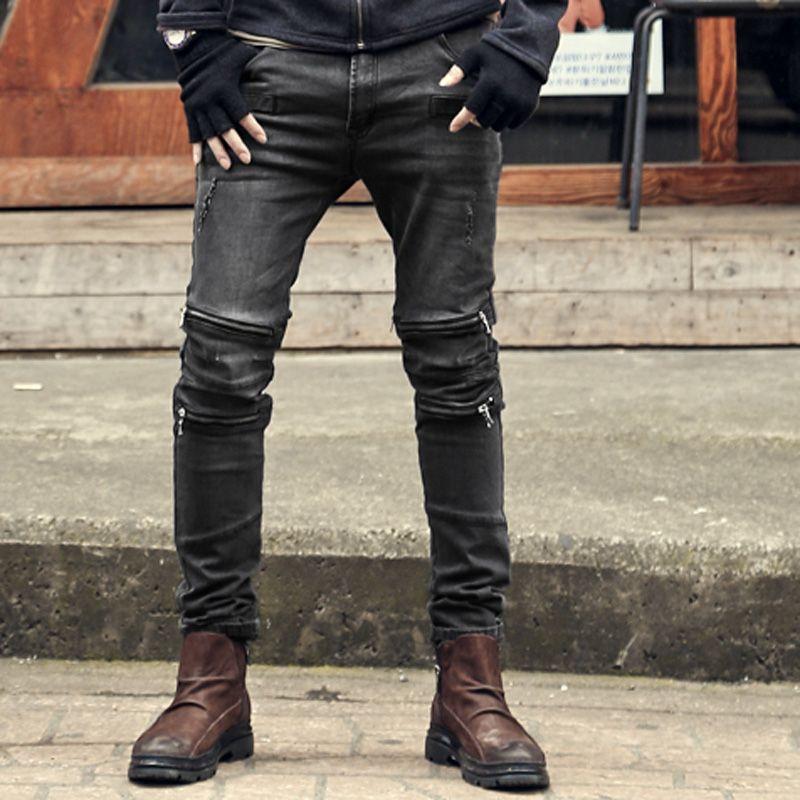 Hommes de mode droite jeans hommes pantalon 2017 new black denim pantalon Multi-zipper Hommes Jeans haute qualité Slim stretch jeans marque