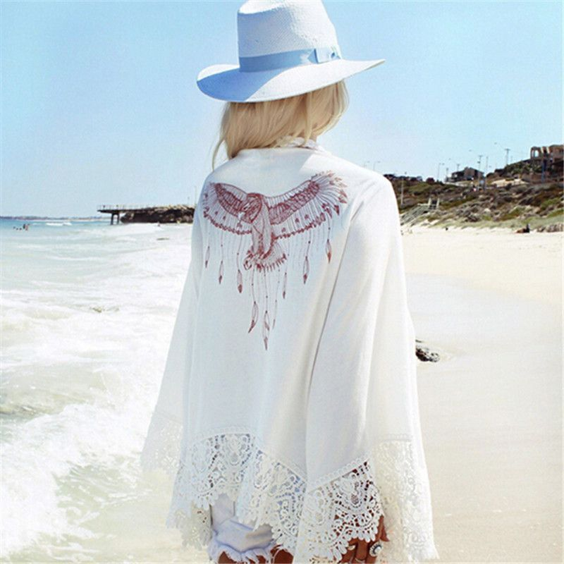 Summer Fashion Women Eagle Print Kimono Shirts Lace Crochet Long Sleeve Loose Cardigan Blouse Beach <font><b>Cover</b></font> Up Shawl Outwear