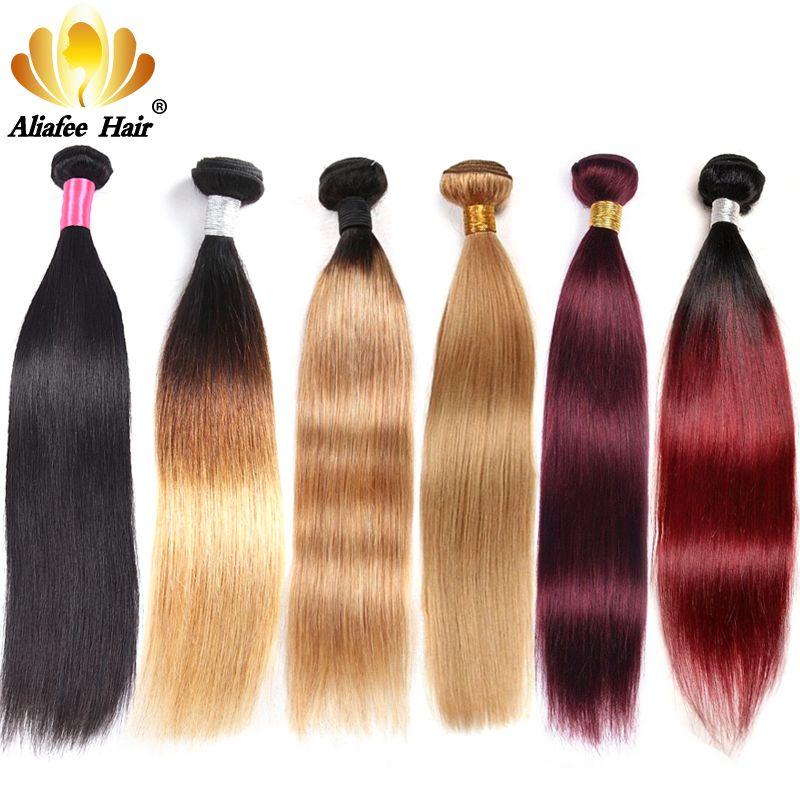 Aliafee brésilien cheveux raides armure paquets Ombre cheveux humains paquets #1b/#2/#4/#99/#27 Non Remy1/3/4 pièces Extension de cheveux