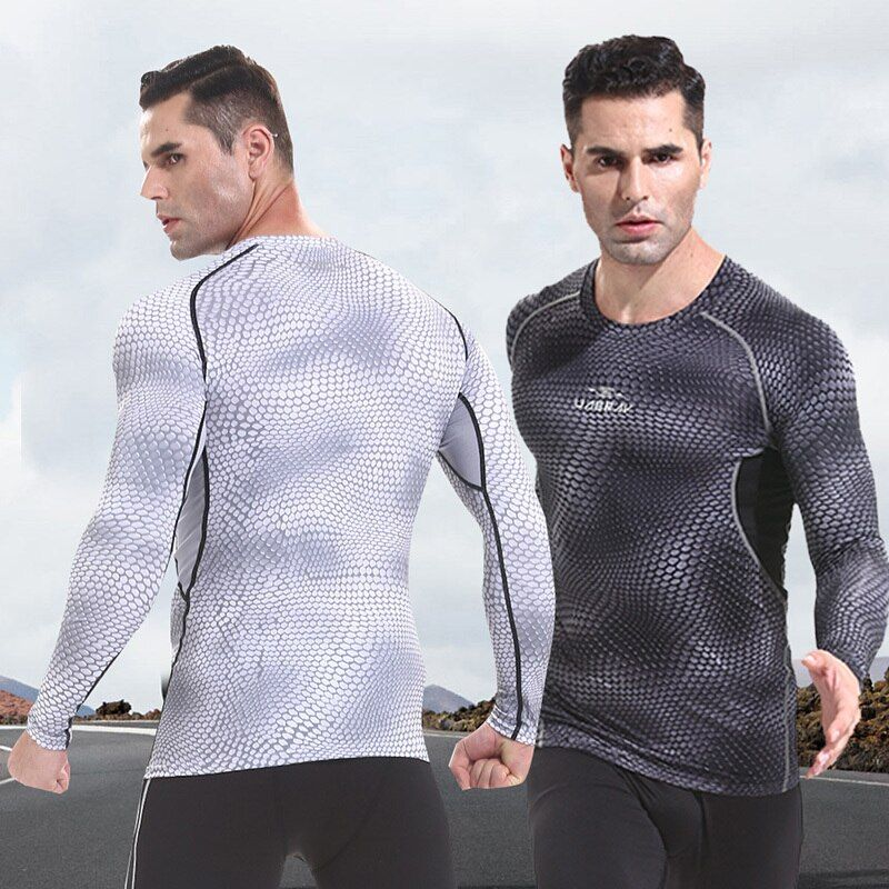Mens Fitness Long Sleeves Rashguard T Shirt Bodybuilding Skin Tight Thermal Compression MMA Crossfit Workout Gear Sport Jerseys
