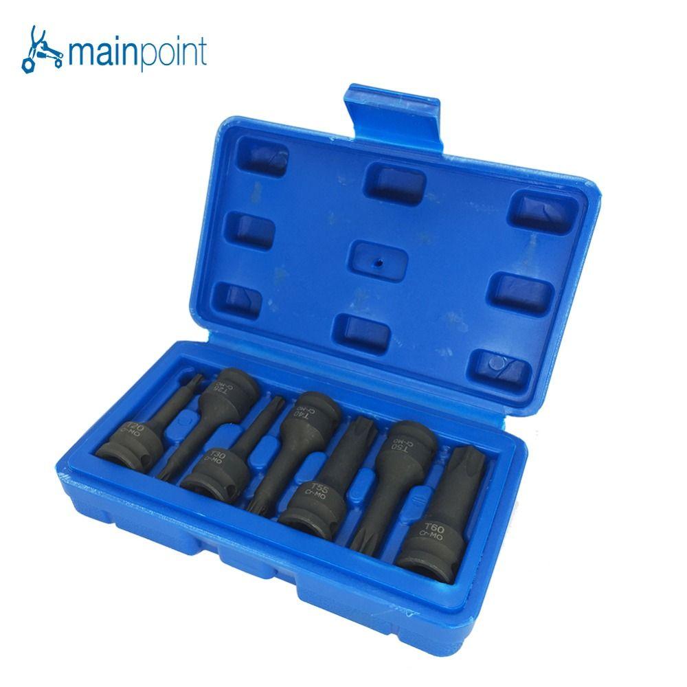Mainpoint 3/8 Stick Star Torx Auswirkungen Buchse Bits 7 Stück T20-T60 Metric Hex Allen Spline CR-MO Ratsche Bit Sockel Set