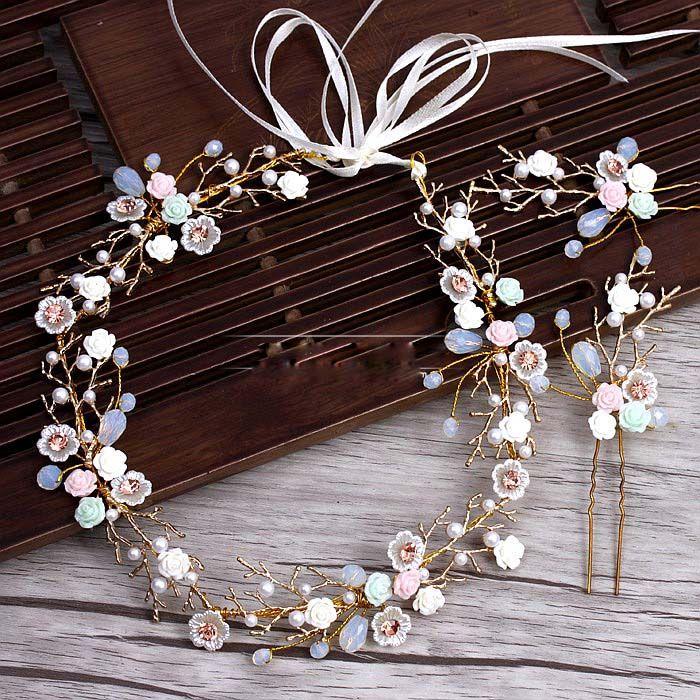 Branches dorées en céramique fleur bandeau épingles à cheveux costume mariage diadème cheveux décoration pour les mariées mariage cheveux accessoires