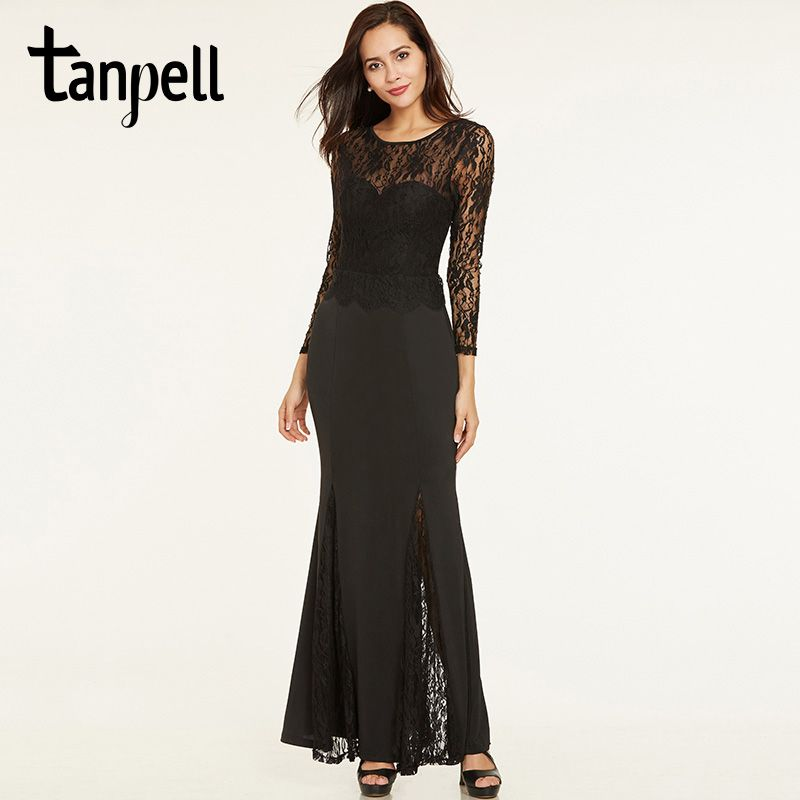 Tanpell lace long evening dresses black scoop neck full sleeves floor length a line gown women sexy backless formal evening gown