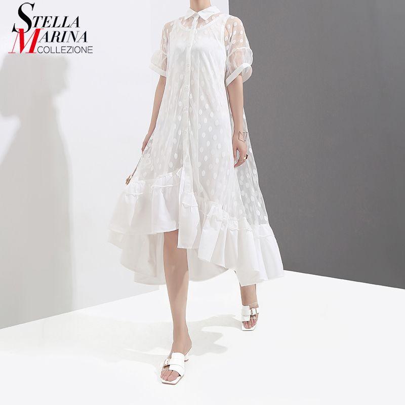New 2018 Two Pieces Set Women Summer Black White Long Mesh Shirt Dress Ruffle Hem Short Sleeve Dotted Asymmetrical Dresses 3623