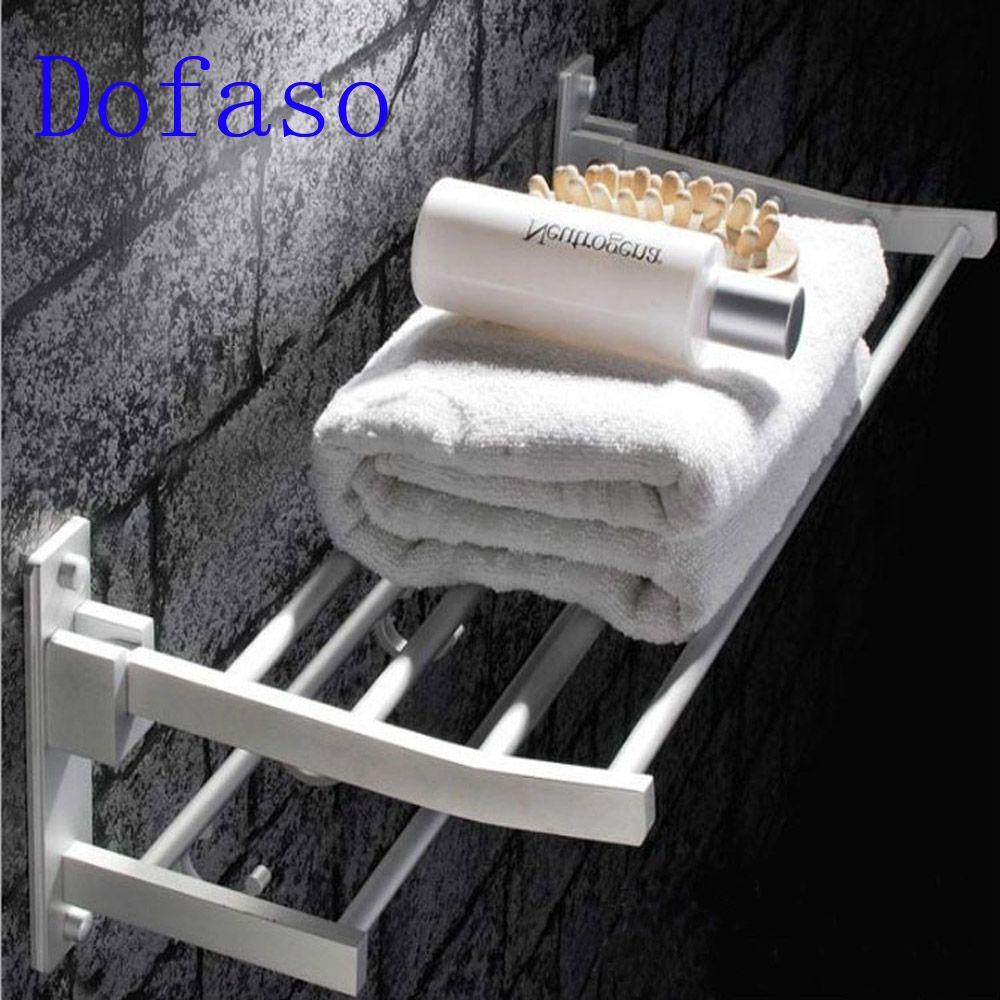 Dofaso bathroom or kitchen hardware storage rack holder shelf length shower organizer towel rack 40/60cm 2 layer with hooks