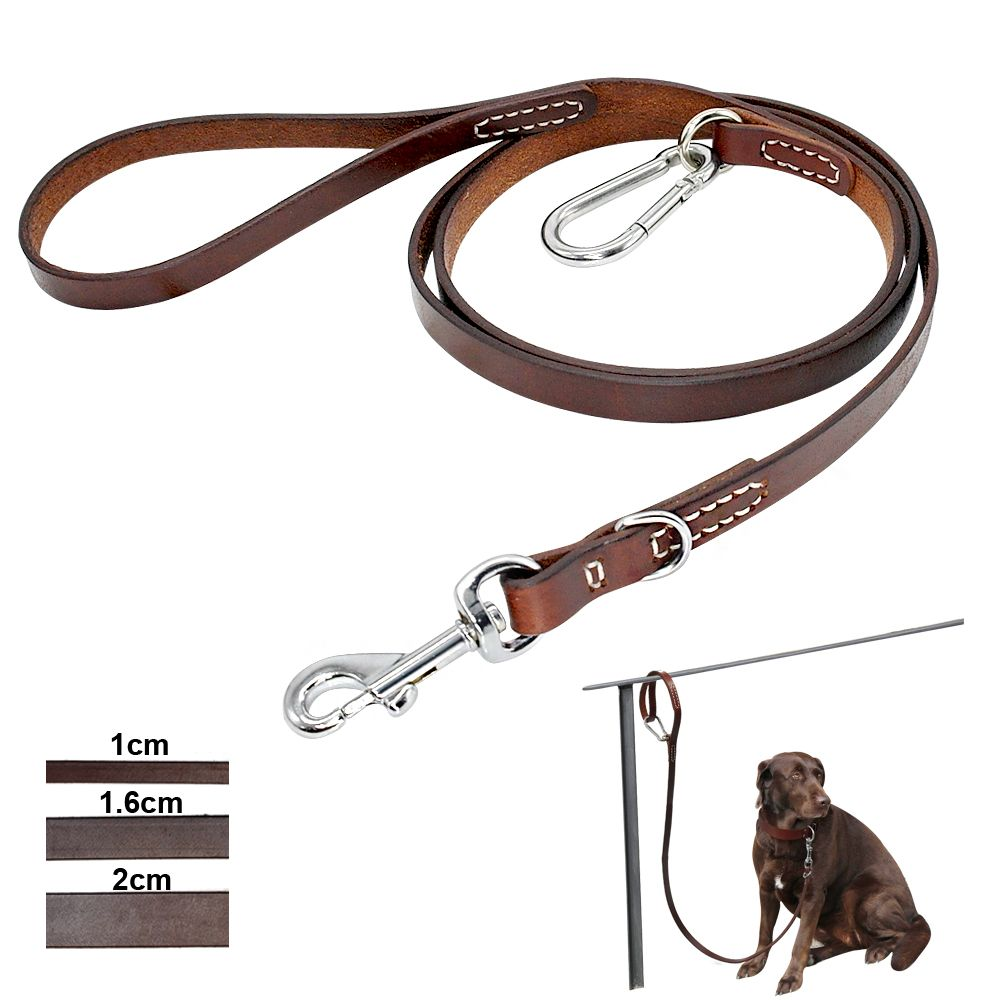 Leather Pitbull Dog Leash Durable Large Dog Leashed with Mountaineering Buckle Outdoor Pet Leads Leashes for Medium Large Dogs