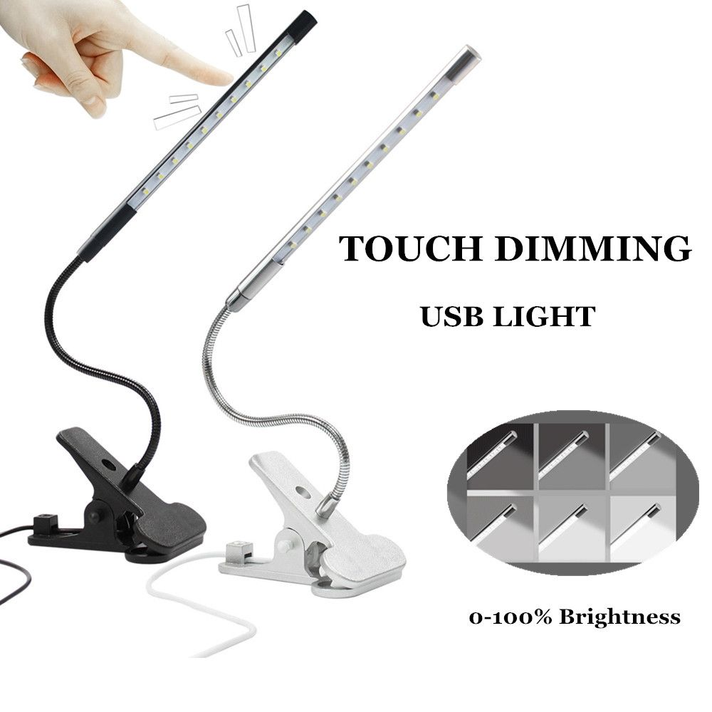 Touch Dimmable <font><b>Flexible</b></font> USB LED Eye-care Reading Light Adjustable LED Solid Clip Desk Lamp for Laptop Bedroom Study Lighting