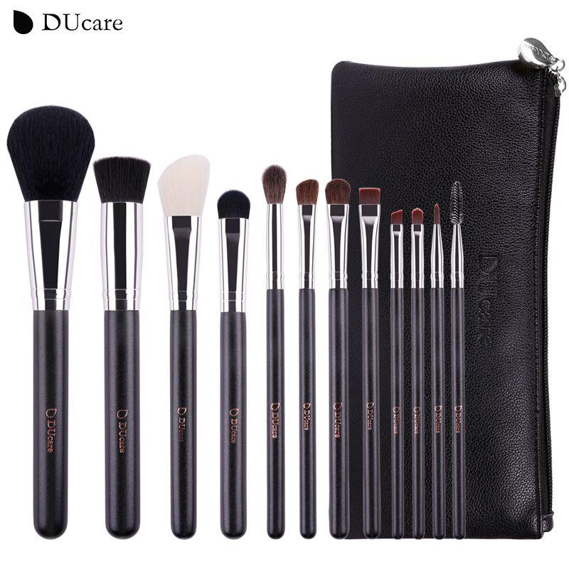 DUcare Maquillage Brosses 12 pcs Naturel Cheveux Cosmétiques Ensemble avec Sacs En Cuir manche En Bois de haute qualité make up brush Set
