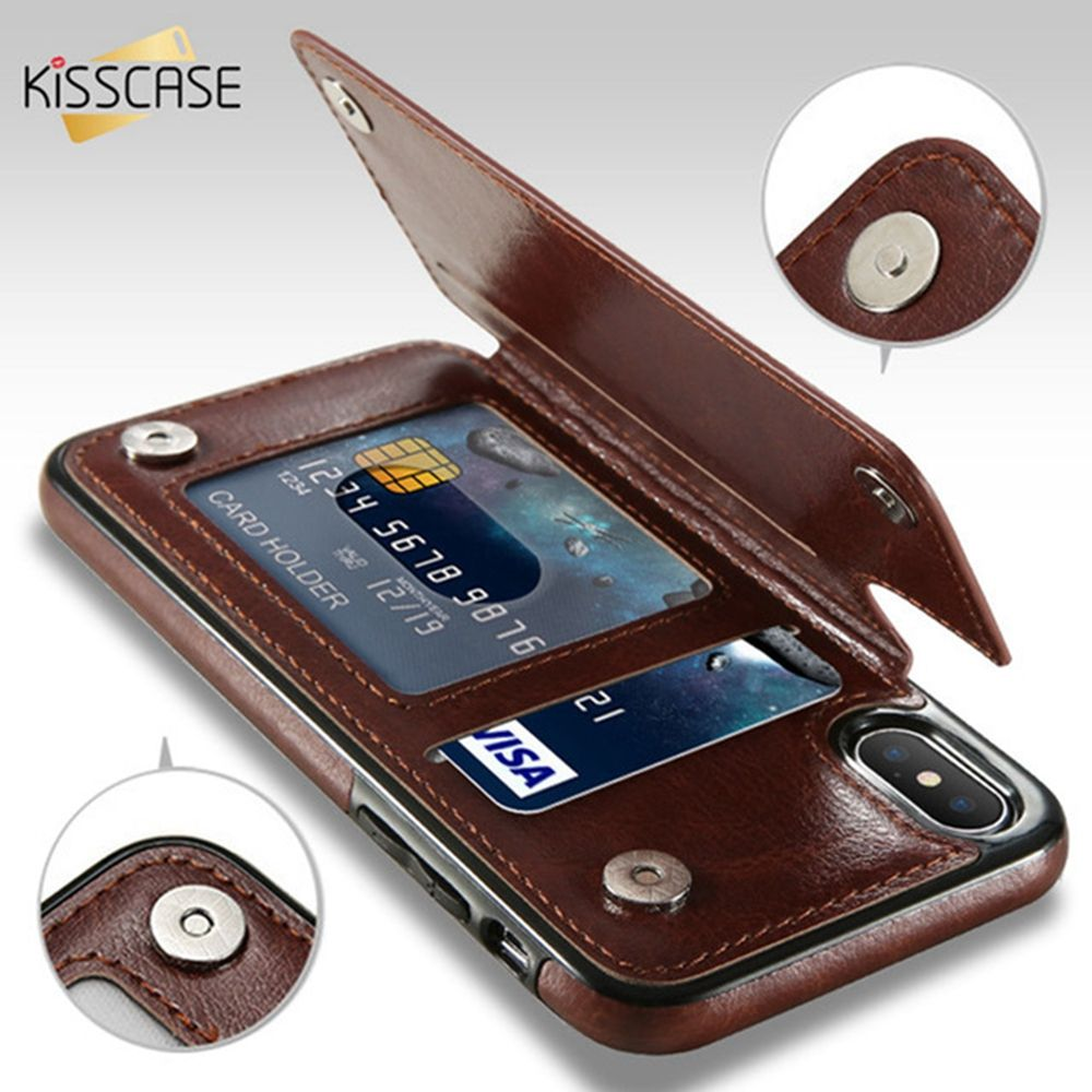 KISSCASE PU Leather Case For iPhone 8 7 6 6s Plus X XS Max XR Retro Flip Phone Cases For iPhone X 10 5 5S SE Card Holders Cover
