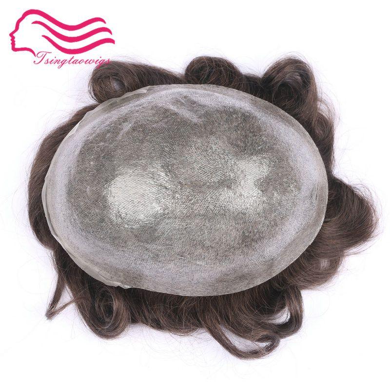Tsingtaowigs ,top durable quality thin skin injection hair men toupee, hair men wig , hair replacement free shippment !