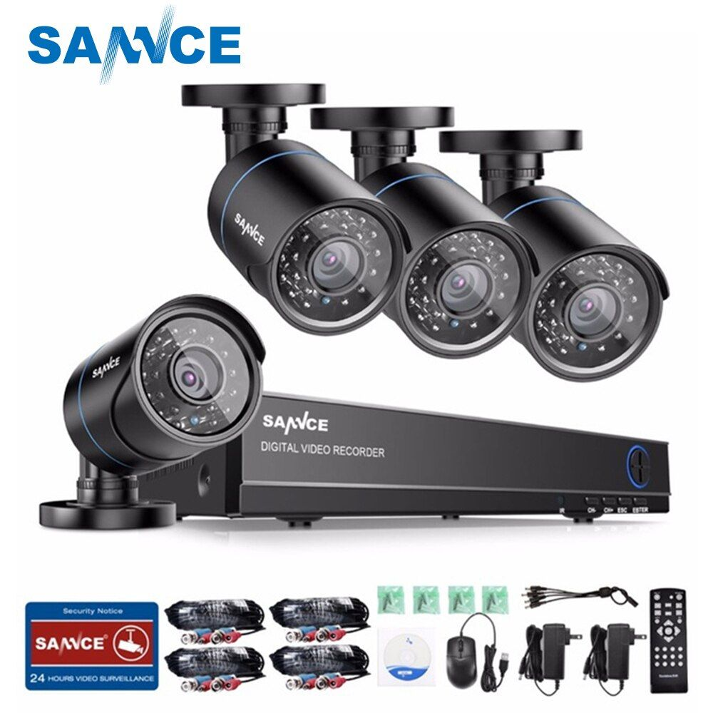 SANNCE 720P CCTV System 4CH Video Surveillance Kit for home 1080P HDMI DVR 4PCS 1280TVL 720P outdoor Security Camera 1tb