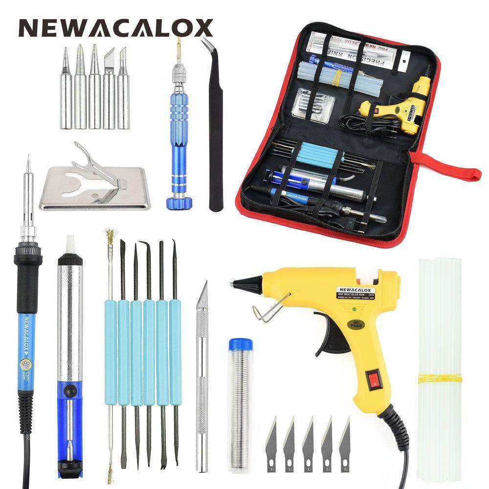 Newacalox ЕС 220 В 60 Вт DIY Регулируемая Температура Электрический паяльник сварки комплект Отвёртки Пистолеты для склеивания ремонт Вырезка Ножи