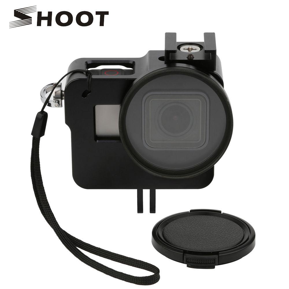 TOURNAGE CNC En Aluminium Alliage Squelette Robuste Cage De Protection Cadre Cas pour GoPro Hero 6 5 Noir avec 52mm UV Lentille Caméra Accessoire
