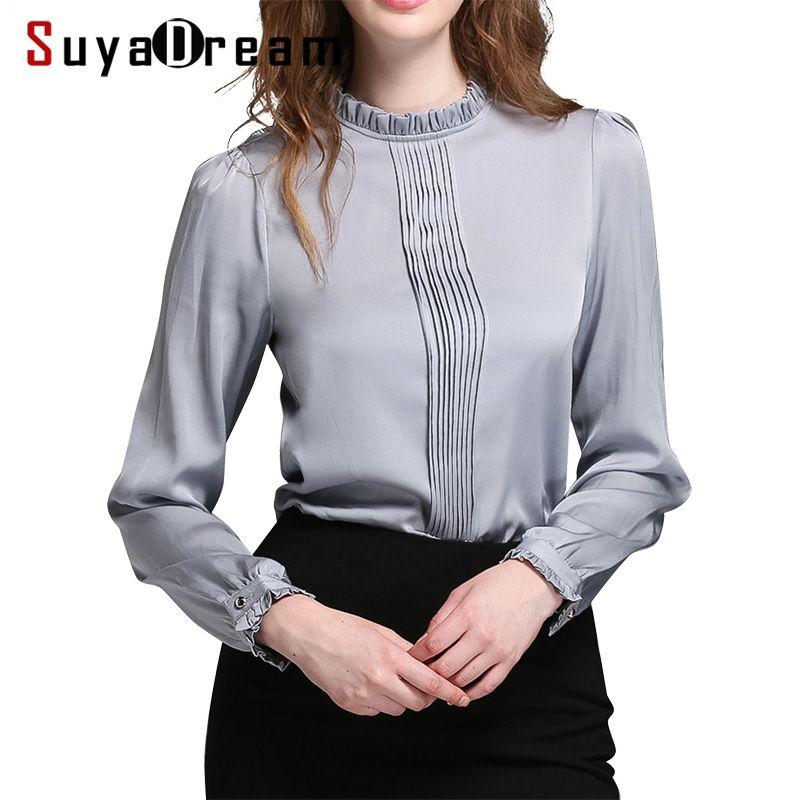 Women T SHIRT 94%Natural silk 6%Spandex Stand collar OFFICE LADY Shirt 2017 Fall Winter New shirt Plus size 4XL