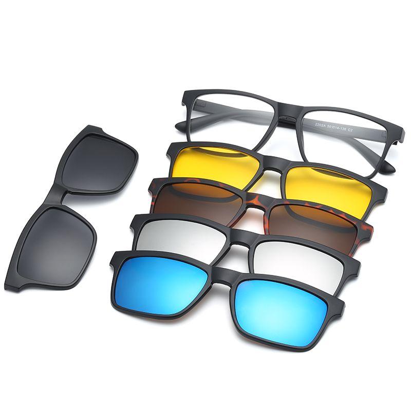 HJYFINO 5 lenes aimant lunettes de soleil Clip miroir Clip sur lunettes de soleil clip sur lunettes hommes polarisé Clip personnalisé Prescription myopie