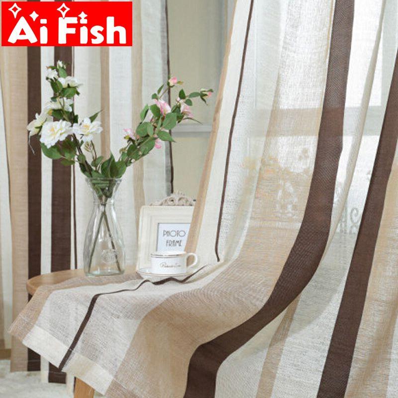 Moderne bref all-match lin rideaux tissu fenêtre pour rayé café luxe Tulle rideaux décoratifs pour salon AP222 & 20
