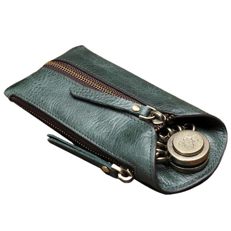 2018 New Genuine Leather Car Key Wallets Men Key Holder Housekeeper Keys Organizer Women Keychain Covers Zipper Key Case Bag