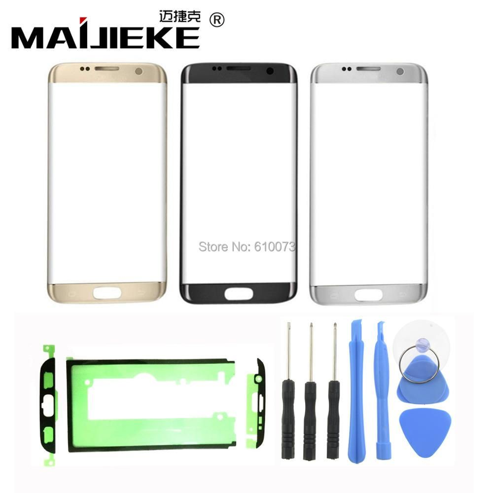 Front Outer Glass Lens kits For Samsung Galaxy S7 edge G935 G935F Front Glass 5.5 Touch Screen LCD Outer Panel+Adhesive Tools