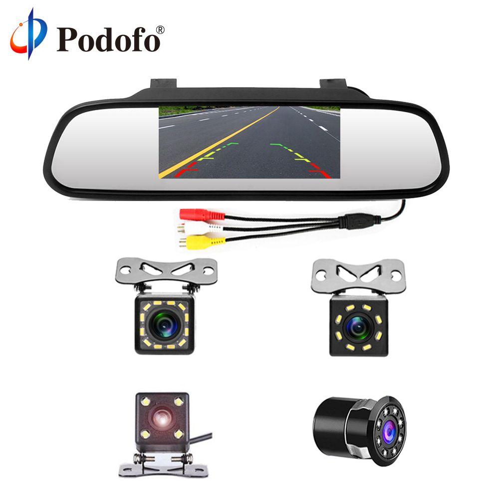 Podofo 4.3 Car <font><b>Rearview</b></font> Mirror Monitor Auto Parking System + LED Night Vision Backup Reverse Camera CCD Car Rear View Camera