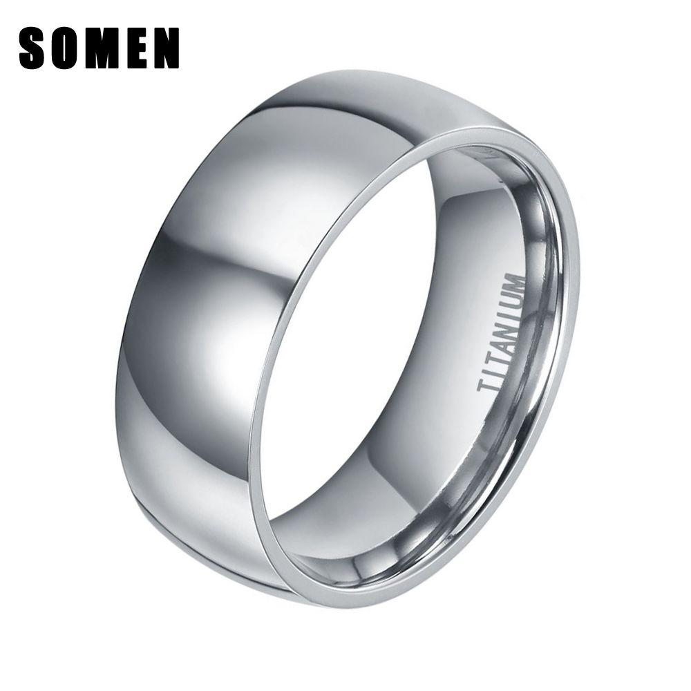 8mm de Design En Forme de Dôme Hommes Classique Argent Titane Anneau Haute Poli De Mariage Bande De Mode Hommes Bijoux Comfort Fit anel masculino