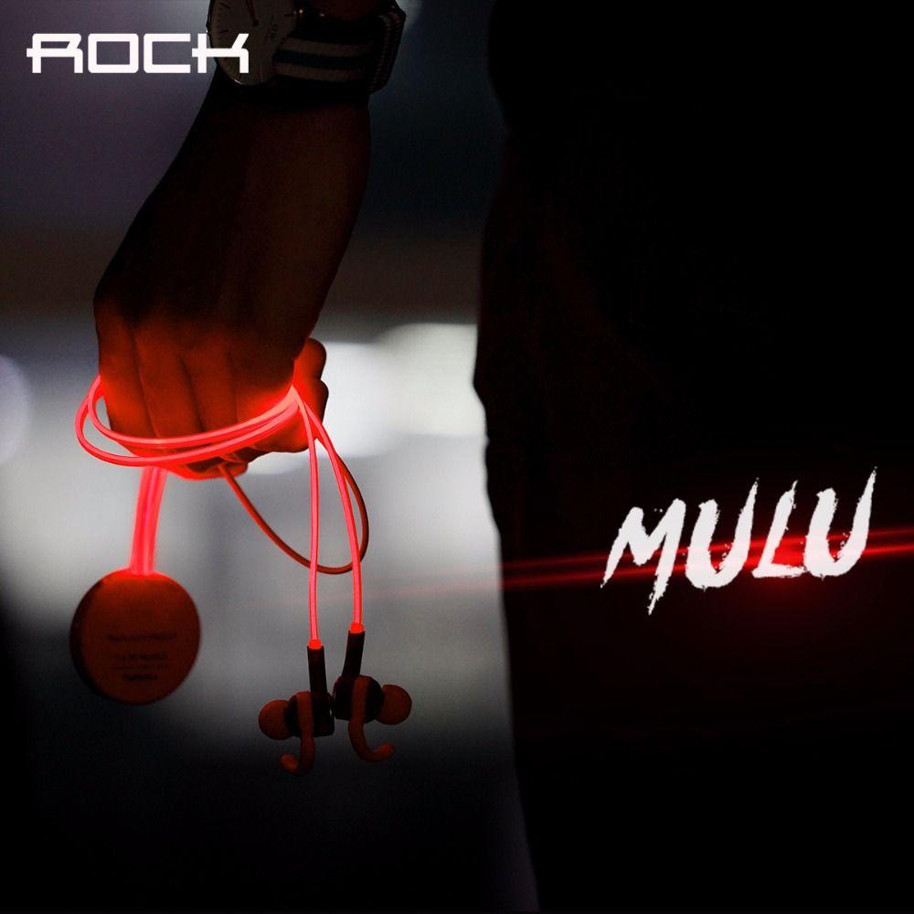 Рок Мулу светодиодной вспышкой Bluetooth наушники 3.5 мм наушники Спорт MP3-плееры, в ухо Спорта Bluetooth 4.0 наушники