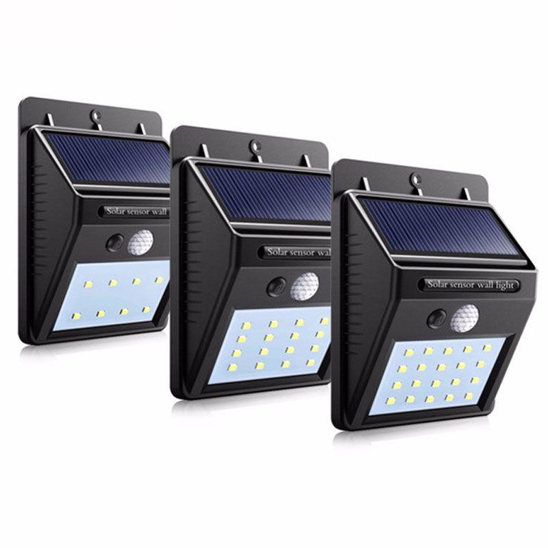 Lampe de capteur solaire extérieure de LED automatiquement mur étanche jardin réverbère mouvement public route nuit ampoules garder l'éclairage