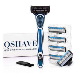 Qshave синие мужские Руководство для бритья Триммер Бритвы бритва Может Дизайн имя, 1 ручка и 6 картриджей (1 шт. X3 лезвие, 5 шт. X5 отвала)