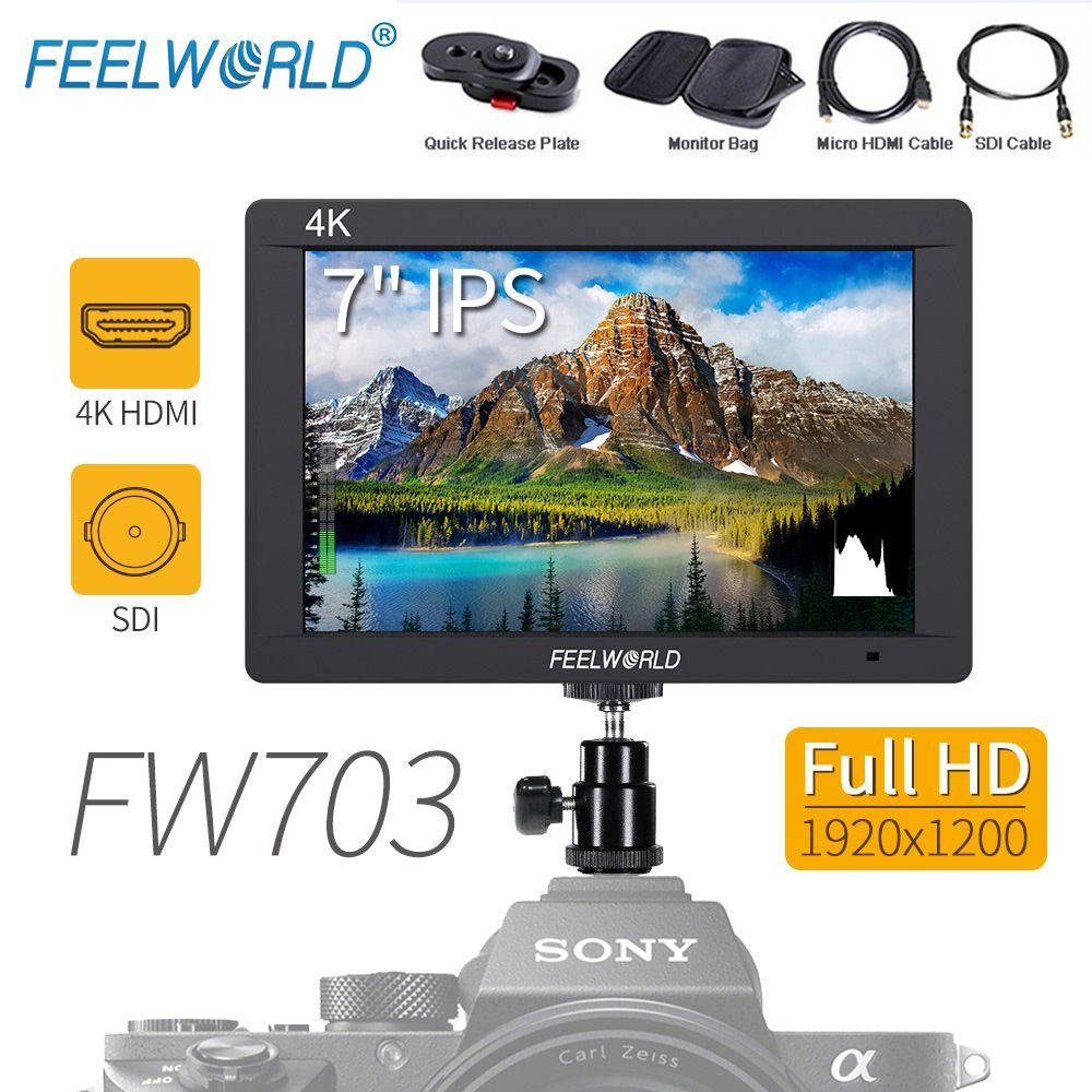 Feelworld FW703 7 Inch 3G-SDI 4K HDMI Camera Field Monitor 7