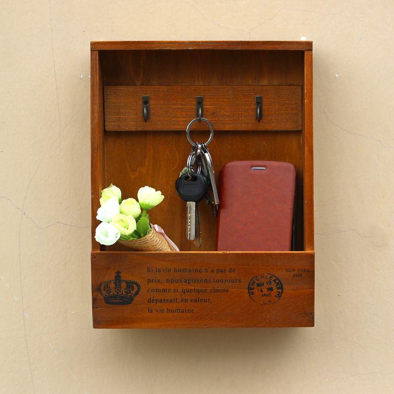 Boîtes en bois faites à la main boîte de rangement organisateur de cargaison Simple petite clé support de rangement suspendu organisateur de téléphone étagère en bois support en bois