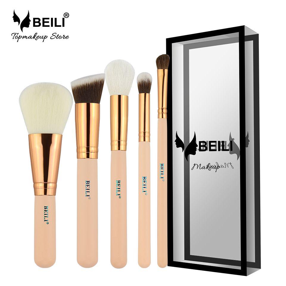 BEILI Rose D'or 5 pcs Maquillage Brosse Ensemble Vol.1 Poudre Contour Correcteur Ombre À Paupières Maquillage Outil Rose poignée