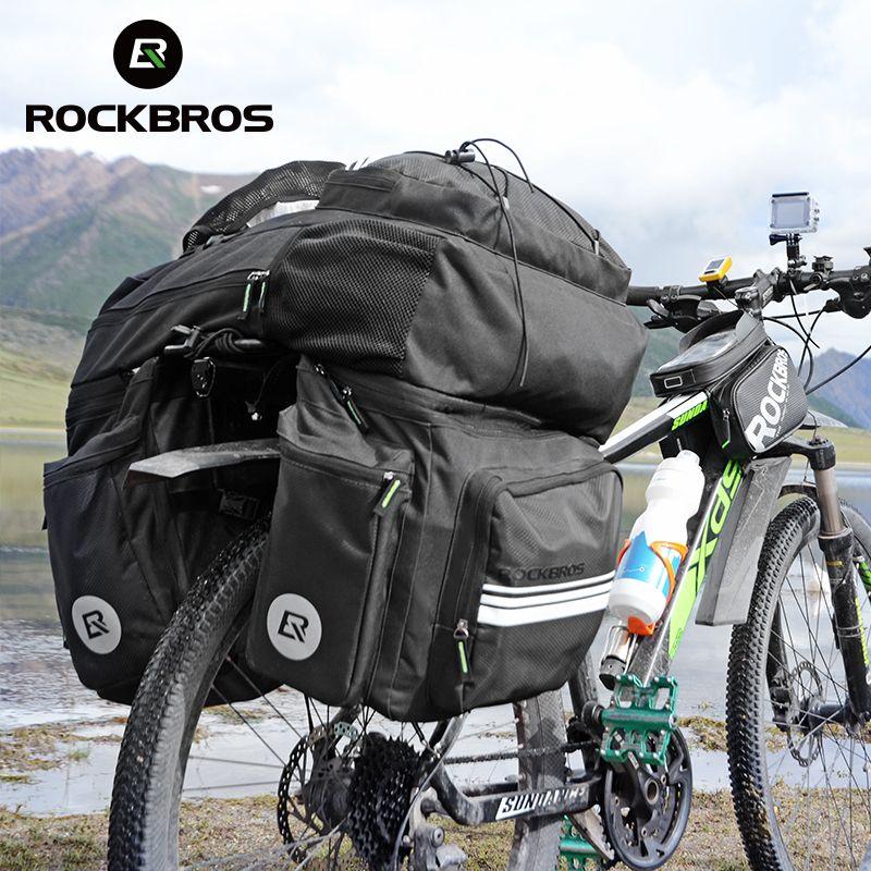 ROCKBROS 3 in 1 Wasserdichte Fahrrad Tasche 48L MTB Mountainbike Rack Tasche Rear Seat Trunk Bag Große Reise Pannier mit Regen Abdeckung