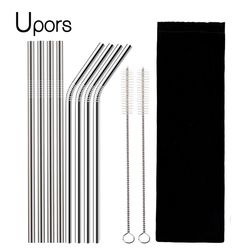 UPORS 4/8Pcs Reusable Drinking Straw High Quality 304 Stainless Steel Metal Straw with Cleaner Brush Wholesale