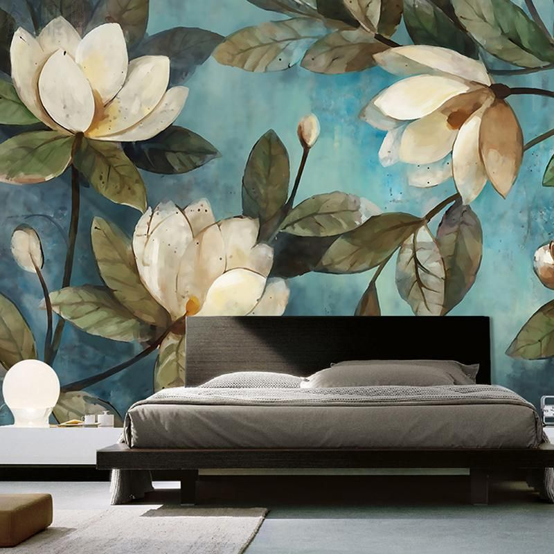 Пользовательские росписи обоев европейской живописи цветы ретро гостиная ТВ фоне обоев вход Спальня нетканых стен