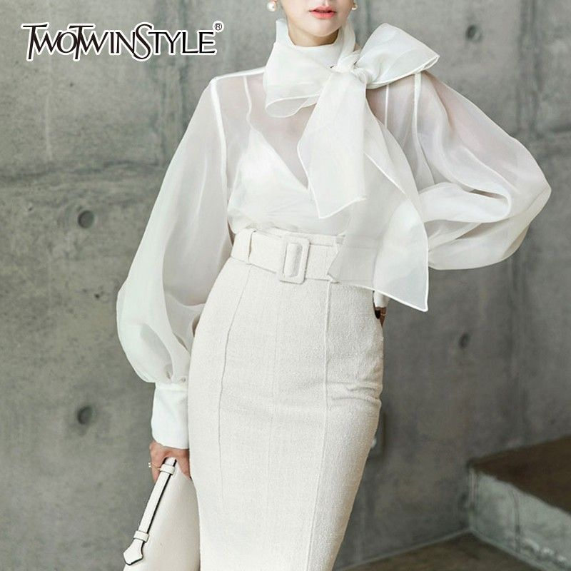 TWOTWINSTYLE Elegant Perspective Womens Tops And Blouses Lantern Sleeve Lace Up Plus Size Shirts Female 2018 Autumn Fashion New