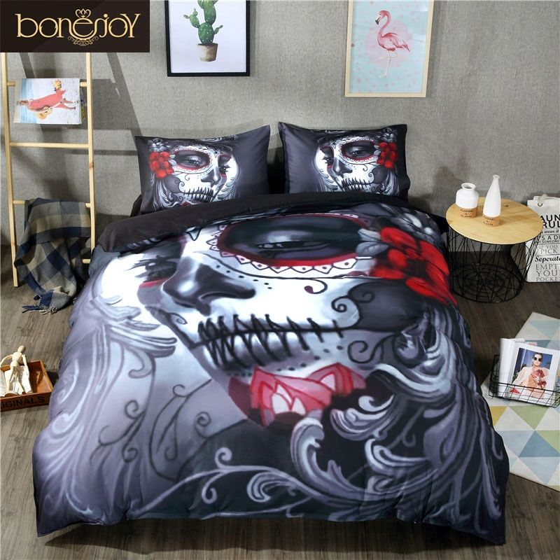 Bonenjoy Black Skull Bedding Set Halloween Style Bed Sheet Queen King Double Bed Linen Cotton Blend Flower Skull Duvet Cover Set