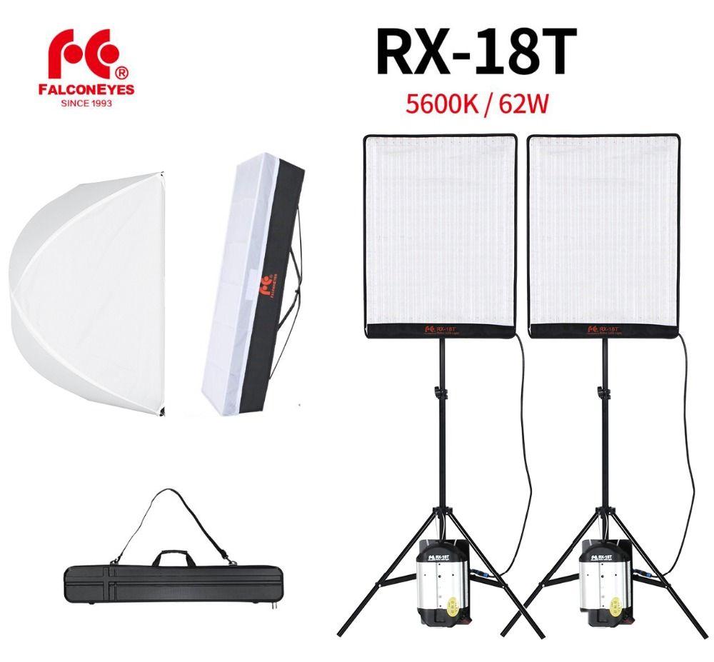 Falcon Eyes 2 stücke RX-18T 62 watt Flexible LED Video Licht 504 stücke Rollbar Tuch Lampe mit Diffusor + Outdoor tragen Tasche + Licht Stehen