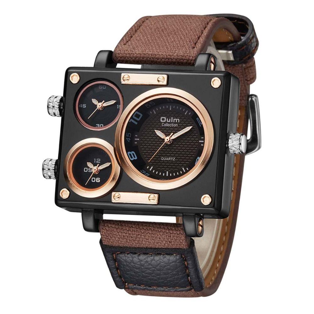 Top Brand OULM Men Watch Men Sports Watches 3 Time Zones Quartz Canvas Watches reloj de hombre 2018 relogios masculino