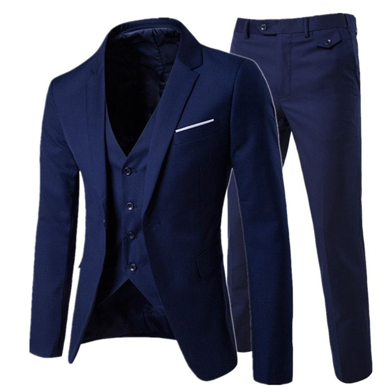 2018/ men's fashion Slim suits men's business casual clothing groomsman three-piece suit Blazers jacket <font><b>pants</b></font> trousers vest sets