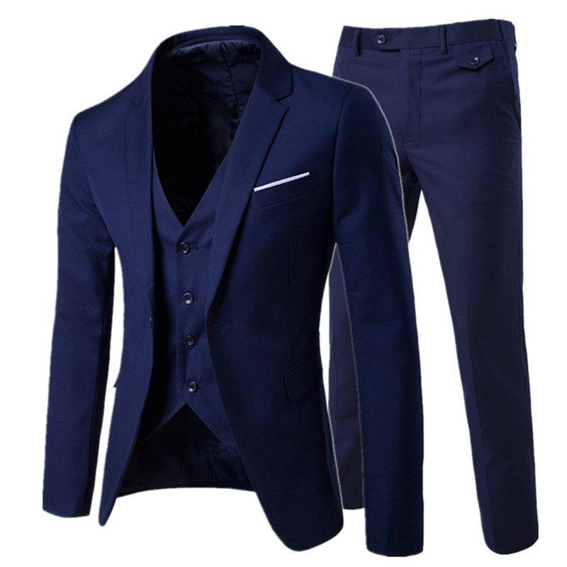 2019 hommes mode Slim costumes hommes d'affaires vêtements de sport groomsman trois pièces costume Blazers veste pantalon pantalon gilet ensembles