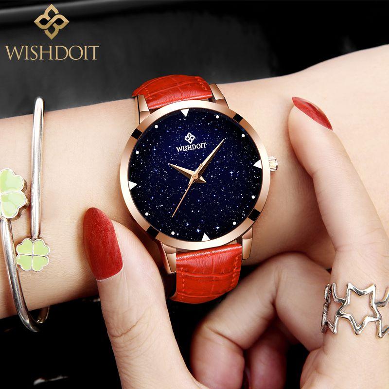 2018 Luxury Brand WISHDOIT Fashion Starry sky Wrist Watch Women Watches Ladies Famous Quartz Watch Female Clock Relogio Feminino