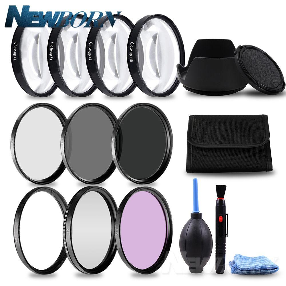 49 52 55 58 62 67 72 77mm Macro Close-up Filtre + 1 + 2 + 4 + 10 ensemble + UV CPL FLD + ND2 4 8 Caméra Lentille Filtre + Hood pour Canon Nikon Sony