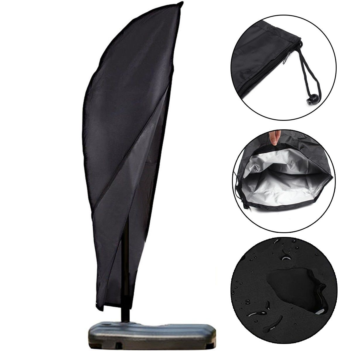Black Polyester Outdoor Banana Umbrella Cover Canopy Garden Weatherproof Patio Cantilever Parasol Rain Cover Accessories