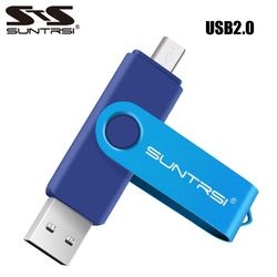 Suntrsi Original OTG USB Flash Drive 32 GB 16 GB Pendrive para smart phone/Tablet/PC USB2.0 giratoria USB Stick 64 GB 8 GB capacidad Real