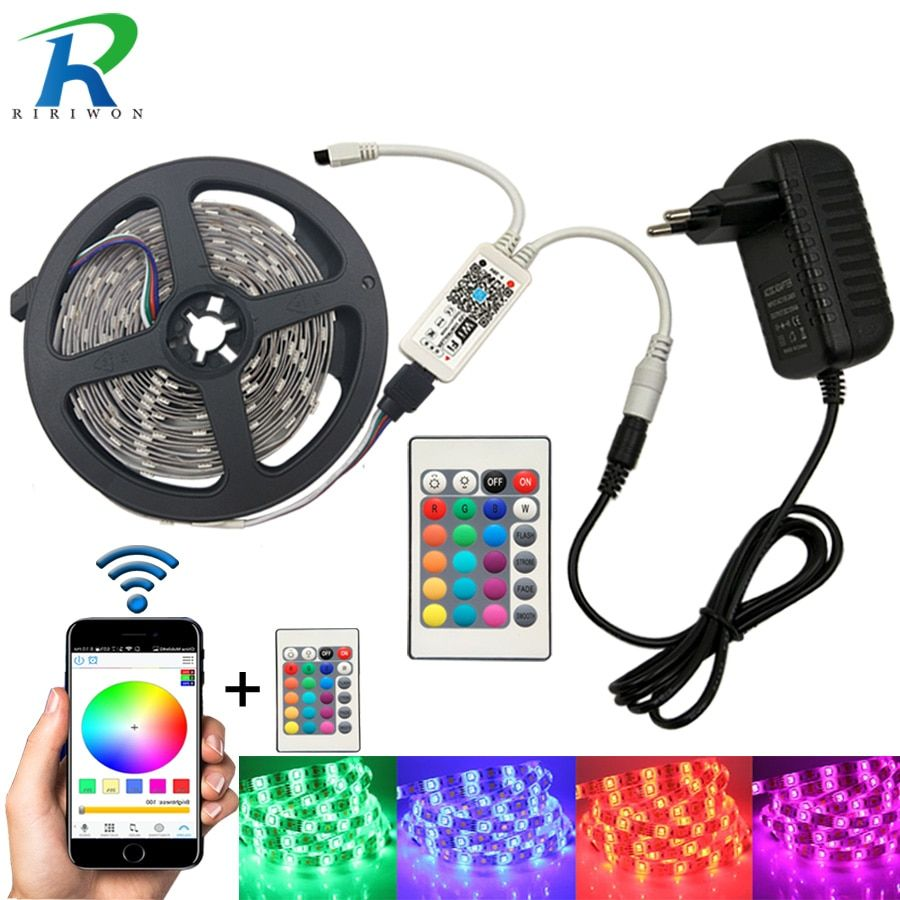 Wifi 5M 10M 15M RGB LED Strip SMD <font><b>5050</b></font> Led Strip Light Waterproof Tape DC 12V Flexible Fita Neon Ribbon tape with Wifi control